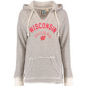 Women's Blue 84 Cream Wisconsin Badgers Striped French Terry V-Neck Pullover Hoodie