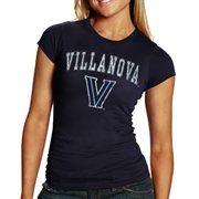 Villanova Wildcats Women's Big Arch & Logo Heathered Slim Fit T-Shirt - Navy Blue