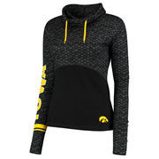 Women's Colosseum Black Iowa Hawkeyes Scaled Cowl Neck Pullover Hoodie