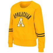 Women's Colosseum Gold Appalachian State Mountaineers Lunar Scoop Neck Fleece Sweatshirt
