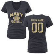 Women's Navy Navy Midshipmen Personalized Distressed Football Tri-Blend V-Neck T-Shirt