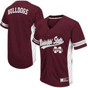 Men's Colosseum Maroon Mississippi State Bulldogs Batter Up Baseball Jersey