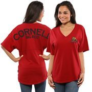 Women's Red Cornell Big Red Short Sleeve Spirit Jersey V-Neck Top
