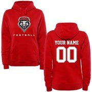 New Mexico Lobos Women's Personalized Football Pullover Hoodie - Cherry