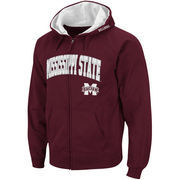 Men's Stadium Athletic Maroon Mississippi State Bulldogs Arch & Logo Full Zip Hoodie