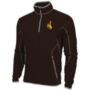 Mens Wyoming Cowboys Antigua Brown Ice Quarter-Zip Fleece Jacket