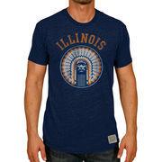 Men's Original Retro Brand Heather Navy Illinois Fighting Illini Vintage Tri-Blend T-Shirt