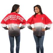 Women's Cardinal San Diego State Aztecs Ombre Long Sleeve Dip-Dyed Spirit Jersey