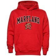 Mens Red Maryland Terrapins Arch Over Logo Hoodie