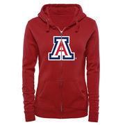 Women's Red Arizona Wildcats Classic Primary Logo Full Zip Hoodie
