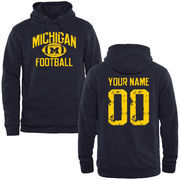 Men's Navy Michigan Wolverines Personalized Distressed Football Pullover Hoodie