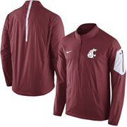 Men's Nike Crimson Washington State Cougars 2015 Football Coaches Sideline Half-Zip Wind Jacket