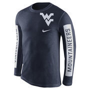 Men's Nike Navy West Virginia Mountaineers Boundary Tri-Blend Long Sleeve T-Shirt