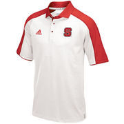 Men's adidas White/Red NC State Wolfpack 2016 Football Coaches Sideline climalite Polo