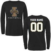 Idaho Vandals Women's Personalized Football Long Sleeve Classic Fit T-Shirt - Black