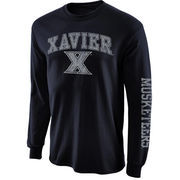 Men's New Agenda Navy Blue Xavier Musketeers Distressed Arch & Logo Long Sleeve T-Shirt