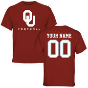 Men's Cardinal Oklahoma Sooners Personalized Football T-Shirt