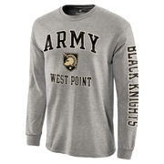 Men's Heathered Gray Army Black Knights Distressed Arch Over Logo Long Sleeve Hit T-Shirt