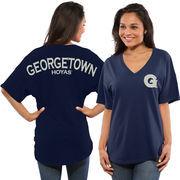 Women's Navy Georgetown Hoyas Spirit Jersey Oversized T-Shirt