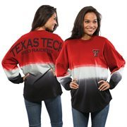 Women's Red Texas Tech Red Raiders Ombre Long Sleeve Dip-Dyed Spirit Jersey