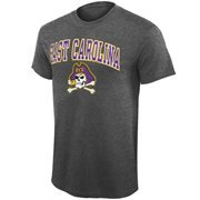 Mens East Carolina Pirates Gray Midsize Arch Logo T-Shirt