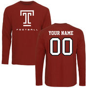 Men's Cardinal Temple Owls Personalized Football Long Sleeve T-Shirt