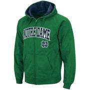 Men's Stadium Athletic Green Notre Dame Fighting Irish Arch & Logo Full Zip Hoodie