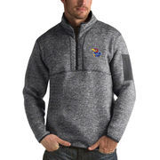 Men's Antigua Heathered Charcoal Kansas Jayhawks Fortune 1/2-Zip Pullover Sweater