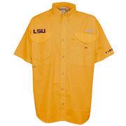 LSU Tigers Columbia PFG Bonehead Short Sleeve Shirt - Yellow