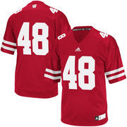 Men's adidas Red Wisconsin Badgers #48 Premier Football Jersey