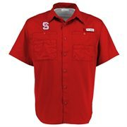 Men's Columbia Red NC State Wolfpack Tamiami PFG Button-Down Shirt