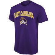 Men's New Agenda Purple East Carolina Pirates Arch Over Logo T-Shirt
