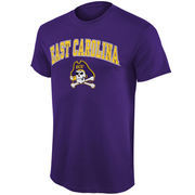 Men's New Agenda Purple East Carolina Pirates Arch Over Logo T-Shirt