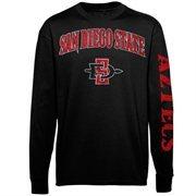 Men's New Agenda Black San Diego State Aztecs Distressed Arch & Logo Long Sleeve T-Shirt