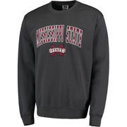 Men's Charcoal Mississippi State Bulldogs Arch & Logo Crew Neck Sweatshirt