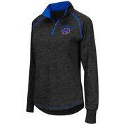 Women's Colosseum Black Boise State Broncos Bikram 1/4 Zip Long Sleeve Jacket