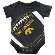 Newborn & Infant Genuine Stuff Black Iowa Hawkeyes Fanatic Football Bodysuit