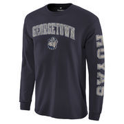 Men's Fanatics Branded Navy Georgetown Hoyas Distressed Arch Over Logo Long Sleeve Hit T-Shirt