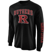 Mens Rutgers Scarlet Knights Black Big Arch N' Logo Love Sleeve T-Shirt