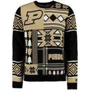 Men's Black Purdue Boilermakers Patches Ugly Sweater