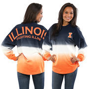 Women's Navy Illinois Fighting Illini Ombre Long Sleeve Dip-Dyed Spirit Jersey