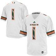 Men's adidas No. 1 White Miami Hurricanes Replica Football Jersey