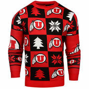 Men's Red Utah Utes Patches Ugly Pullover Sweater