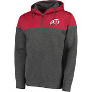 Men's Colosseum Red/Charcoal Utah Utes Top Gun Quarter-Zip Pullover Hoodie
