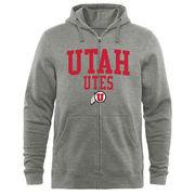 Men's Heathered Gray Utah Utes Arched School Name & Mascot Full-Zip Hoodie
