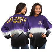 Women's Purple East Carolina Pirates Ombre Long Sleeve Dip-Dyed Spirit Jersey