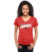 Women's Red Cornell Big Red Double Bar Tri-Blend V-Neck T-Shirt