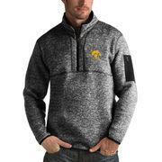 Men's Antigua Heathered Black Iowa Hawkeyes Fortune 1/2-Zip Pullover Sweater