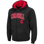 Men's Colosseum Black Cornell Big Red Arch & Logo Full Zip Hoodie