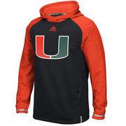 Men's adidas Black Miami Hurricanes 2016 Sideline Player climawarm Hoodie